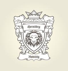 Heraldic emblem - coat of arms with head of lion vector