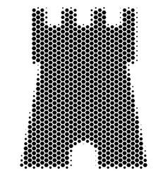 Hexagon halftone bulwark tower icon vector