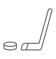 hockey thin line icon game and sport hockey vector image