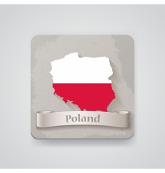 icon poland map with flag vector image