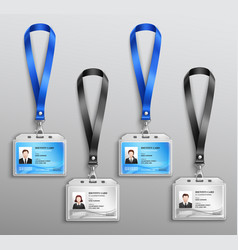 Id cards badges realistic set vector
