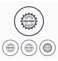 ISO 9001 and 14001 certified icon Certification vector