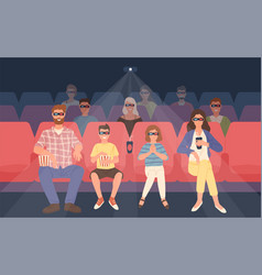 joyful family sitting in stereoscopic movie vector image