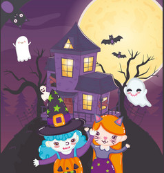 kids with costume halloween image vector image