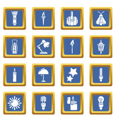 light source icons set blue square vector image
