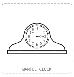 Mantel clock linear icon Object isolated on vector image