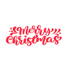 Merry christmas red text calligraphic vector