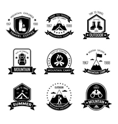 Mountain Camp Black White Emblems vector