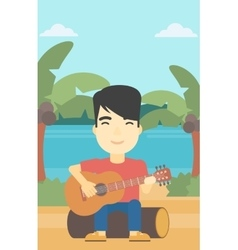 Musician playing acoustic guitar vector image