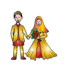 Muslim couple wedding card vector