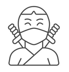Ninja avatar of man in mask with two sword thin vector