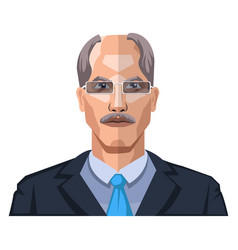 older man with mustaches wearing glasses on white vector image