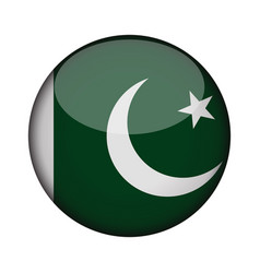 Pakistan flag in glossy round button of icon vector