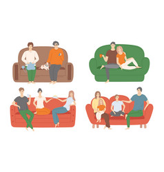 people sitting on couch set vector image