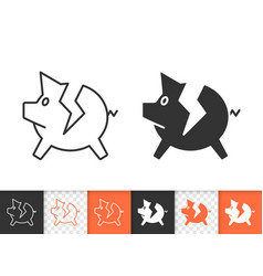 pig bank broken simple black line icon vector image