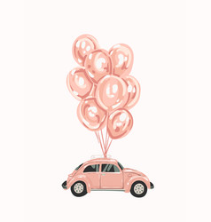 Pink female car with balloons for your design vector