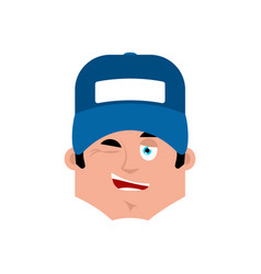 plumber winking emotion avatar fitter happy emoji vector image