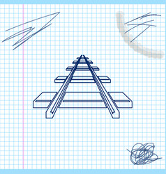 railroad line sketch icon isolated on white vector image
