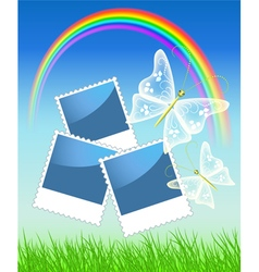 Rainbow and butterflies and photo frame vector