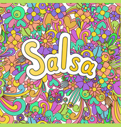 Salsa zen tangle doodle dance background with vector