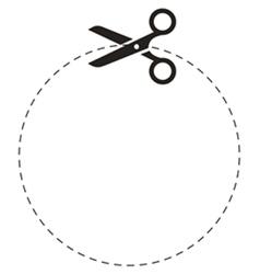 Scissors circle cut line vector