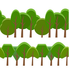 Seamless border with cartoon trees of different vector