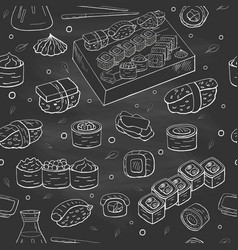 seamless pattern with sushi collection on black vector image