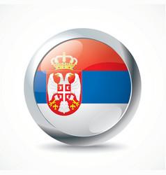 Serbia flag button vector image