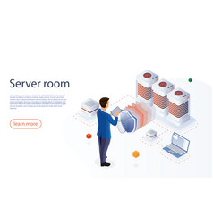 Server room isometric web hosting concept vector