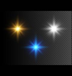 Set glowing lights stars transparent effect vector
