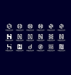 set initial h abstract logo template vector image