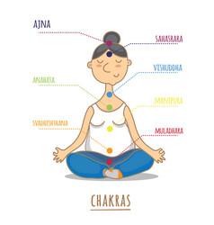seven chakras - the theme of meditation and yoga vector image