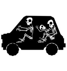 Skeleton car stencil vector
