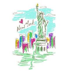 sketch with statue liberty vector image