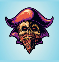 skull pirate hand drawing logo vector image