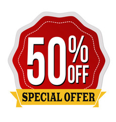 Special offer 50 off label or sticker vector