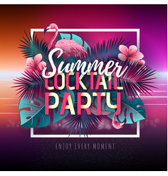 Summer cocktail party typography poster vector