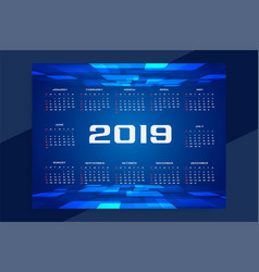 technology concept design of 2019 calendar vector image