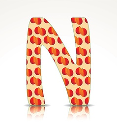 The letter N of the alphabet made of Nectarine vector