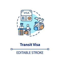 Transit visa concept icon vector