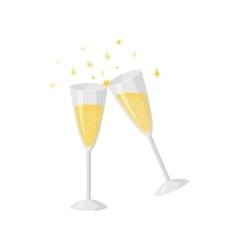 Two glasses champagne isolated on white vector