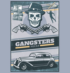 Vintage colored gangster poster vector