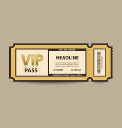Vip pass admission stub ticket vector