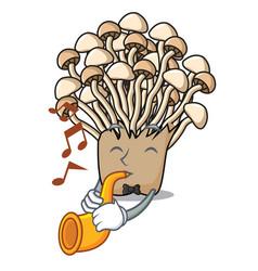 With trumpet enoki mushroom mascot cartoon vector