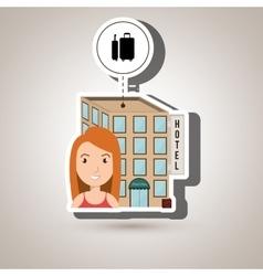Woman hotel building service vector