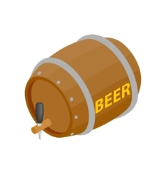 wooden barrel beer with a tap isometric 3d icon vector image