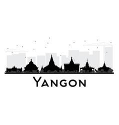 yangon city skyline black and white silhouette vector image