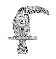 Zentangle stylized toucan vector image