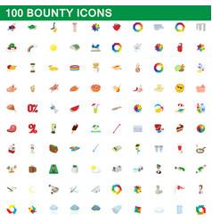 100 bounty icons set cartoon style vector image vector image