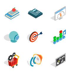 brain training icons set isometric style vector image vector image